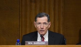 Sen. John Barrasso, R-Wyo., speaks during a Senate Energy and Natural Resources Committee hearing on Capitol Hill in Washington, Thursday, March 11, 2021, to examine the reliability, resiliency, and affordability of electric service in the United States amid the changing energy mix and extreme weather events. (AP Photo/Susan Walsh)