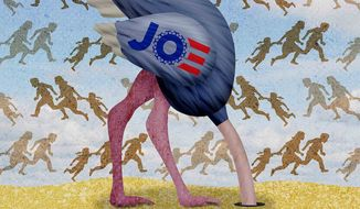 Ostrich Joe Biden and the immigration border crisis (Illustration by Greg Groesch/The Washington Times)