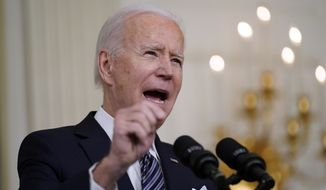 President Joe Biden speaks about the COVID-19 relief package in the State Dining Room of the White House, Monday, March 15, 2021, in Washington. (AP Photo/Patrick Semansky)