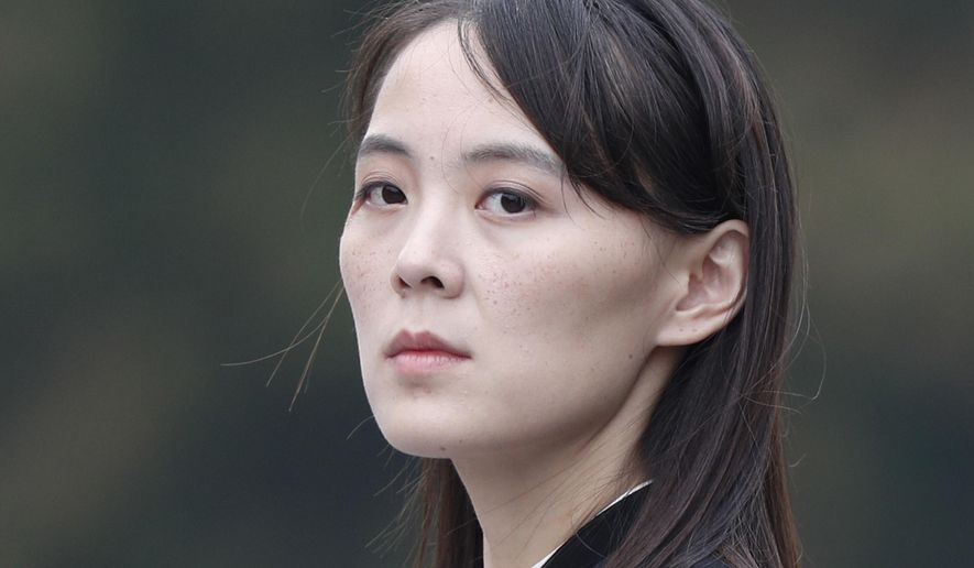 """In this March 2, 2019, file photo, Kim Yo Jong, sister of North Korean leader Kim Jong Un, attends a wreath-laying ceremony at Ho Chi Minh Mausoleum in Hanoi, Vietnam. In North Korea's first comments directed at the Biden administration, Kim Yo Jong criticized the United States and South Korea for holding military exercises and warned the U.S. against further provocations if it wants a """"good night's sleep for the next four years."""" Her statement was issued on Tuesday, March 16, 2021, as U.S. Secretary of State Antony Blinken and Defense Secretary Lloyd Austin arrived in Asia to talk to U.S. allies Japan and South Korea about North Korea and other regional issues. (Jorge Silva/Pool Photo via AP, File)"""