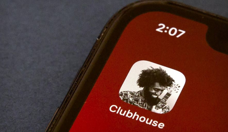 In this Feb. 9, 2021, photo, the icon for the social media app Clubhouse is seen on a smartphone screen in Beijing. (AP Photo/Mark Schiefelbein) **FILE**
