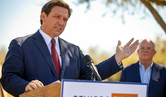 """An organization called """"Ron Be Gone"""" launched this week. The group aims to prevent Florida Gov. Ron DeSantis from winning a second term. (Associated press)"""
