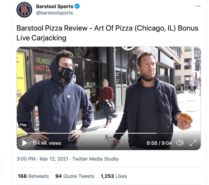 Barstool Sports founder Dave Portnoy found himself witness to a Chicago carjacking, March 10, 2021. (Image: Twitter, Barstool Sports, video screenshot)