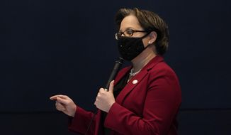 This Tuesday Feb. 223, 2021 file photo shows Virginia State Sen. Jennifer McClellan, D-Richmond, gestures during debate on a bill during the Senate session at the Science Museum of Virginia in Richmond, Va. McClellan called the remarks by Republican gubernatorial candidate Amanda Chase bigoted and racist and said they have no place in Virginia politics. (AP Photo/Steve Helber) *FILE**