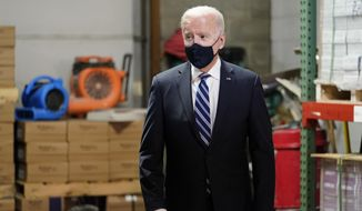 President Joe Biden visits Smith Flooring, Inc., in Chester, Pa., Tuesday, March 16, 2021. (AP Photo/Carolyn Kaster)