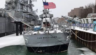 This photo, provided by the Buffalo and Erie County Naval & Military Park, in Buffalo, NY, on Tuesday, March 16, 2021, shows the destroyer USS The Sullivans, that's taking on water and listing at its dock in Buffalo's inner harbor and began emergency repairs. The 78-year-old vessel is named in honor of the five Sullivan brothers from Waterloo, Iowa, who were killed in action when the USS Juneau was sunk by the Japanese in the South Pacific during World War II. (Buffalo and Erie County Naval & Military Park via AP)
