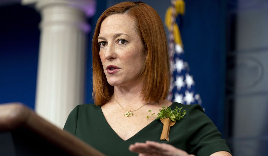 White House press secretary Jen Psaki speaks during a press briefing at the White House, Wednesday, March 17, 2021, in Washington. (AP Photo/Andrew Harnik)