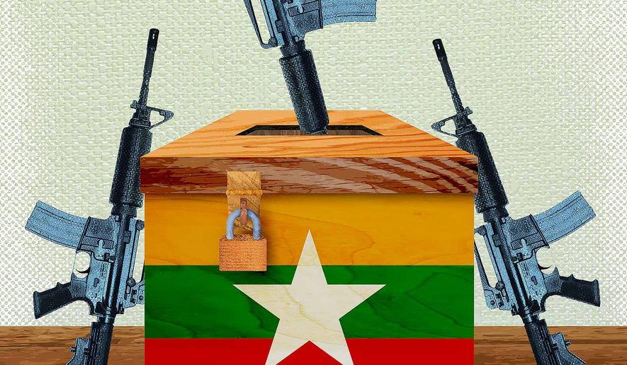 Ballot or Bullet in Myanmar Illustration by Greg Groesch/The Washington Times