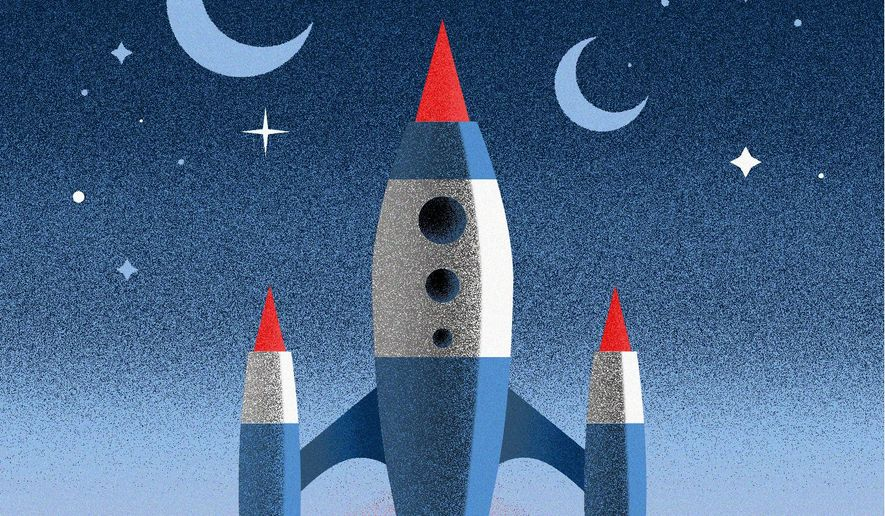 Illustration on future space exploration by Linas Garsys/The Washington Times