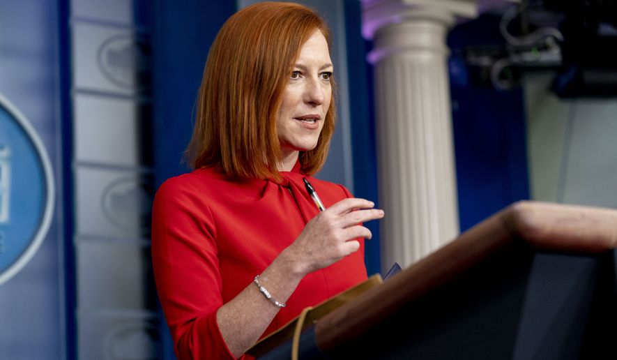 White House press secretary Jen Psaki speaks during a press briefing at the White House, Thursday, March 18, 2021, in Washington. (AP Photo/Andrew Harnik)