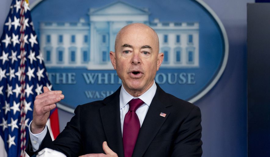 In this March 1, 2021, photo, Homeland Security Secretary Alejandro Mayorkas speaks during a press briefing at the White House in Washington. (AP Photo/Andrew Harnik) **FILE**