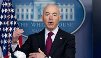In this March 1, 2021, photo, Homeland Security Secretary Alejandro Mayorkas speaks during a press briefing at the White House in Washington. (AP Photo/Andrew Harnik) ** FILE **