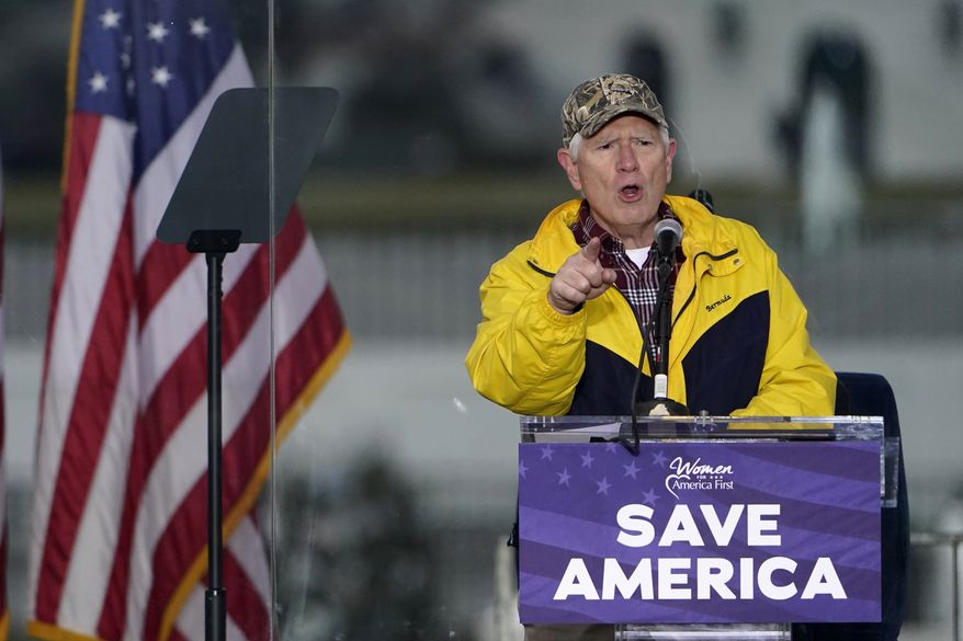 """In this Jan. 6, 2021, file photo, Rep. Mo Brooks, Alabama Republican, speaks in Washington, at a rally in support of President Donald Trump called the """"Save America Rally."""" (AP Photo/Jacquelyn Martin, File)"""