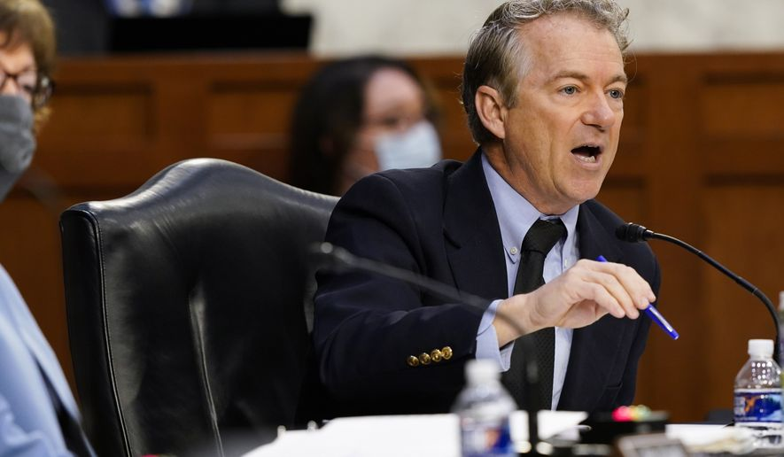 Sen. Rand Paul, R-Ky., speaks during a Senate Health, Education, Labor and Pensions Committee hearing on the federal coronavirus response on Capitol Hill in Washington, Thursday, March 18, 2021. (AP Photo/Susan Walsh, Pool)