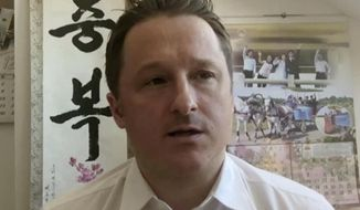 FILE - In this file image made from a March 2, 2017, video, Michael Spavor, director of Paektu Cultural Exchange, talks during a Skype interview in Yanji, China. The Canadian government says China will begin trials in March 2021 for two Canadians, Spavor and Michael Kovrig, who were arrested in 2019 in apparent retaliation for Canada's detention of a senior executive for Chinese communications giant Huawei Technologies. (AP Photo/File)