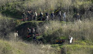 FILE - In this Jan. 27, 2020, file photo, investigators work the scene of a helicopter crash that killed former NBA basketball player Kobe Bryant in Calabasas, Calif. A judge has ruled that Kobe Bryant's widow, Vanessa Bryant, can obtain the names of four Los Angeles County sheriff's deputies who allegedly shared graphic photos from the site of the helicopter crash that killed her husband, their daughter Gianna and seven others. The Los Angeles Times reports that an effort by Los Angeles County lawyers to keep the deputies' names under seal was rejected Monday, March 8, 2021, by U.S. District Judge John F. Walter. (AP Photo/Mark J. Terrill, File)
