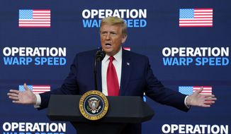 """In this Tuesday, Dec. 8, 2020, file photo, then-President Donald Trump speaks during an """"Operation Warp Speed Vaccine Summit"""" on the White House complex, in Washington. (AP Photo/Evan Vucci, File)"""