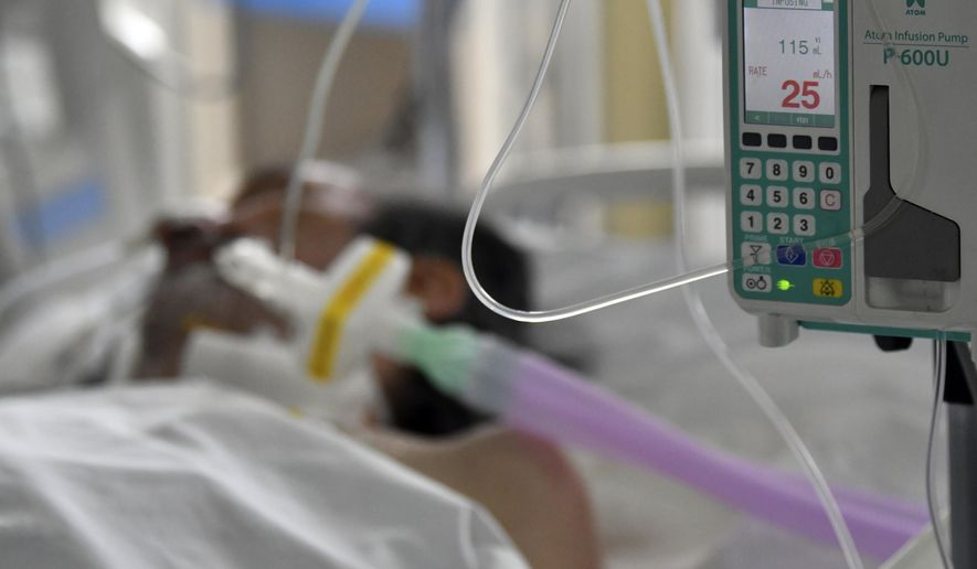 A patient on oxygen support in the COVID-19 ward at the General Hospital in the capital Sarajevo, Bosnia, Thursday, March 18, 2021.  (AP Photo)  **FILE**