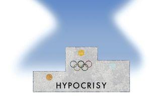 Illustration on the hypocrisy olympics by Alexander Hunter/The Washington Times