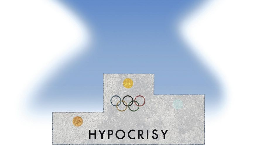 Illustration on the hypocrisy olympics by Alexander Hunter/The Washington Times