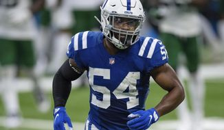 FILE - Indianapolis Colts linebacker Anthony Walker (54) runs to the sidelines during an NFL football game against the New York Jets in Indianapolis, in this Sunday, Sept. 27, 2020, file photo. Free agent linebacker Anthony Walker agreed to sign a one-year, $3.5 million contract with Cleveland, which has improved its secondary, pass rush and linebacking corps this week in free agency. (AP Photo/Zach Bolinger, File)