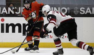 Anaheim Ducks defenseman Jamie Drysdale, left, passes the puck past Arizona Coyotes defenseman Oliver Ekman-Larsson during the second period of an NHL hockey game in Anaheim, Calif., Thursday, March 18, 2021. (AP Photo/Alex Gallardo)