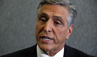 FILE - In this Oct. 26, 2018, file photo, Lou Barletta speaks after a debate in the studio of KDKA-TV in Pittsburgh. Barletta, a former congressman who unsuccessfully challenged U.S. Sen. Bob Casey in 2018, said Friday, March 19, 2021, that he will make a decision in the next few weeks on whether to seek the Republican nomination for governor of Pennsylvania in 2022. (AP Photo/Gene J. Puskar, File)