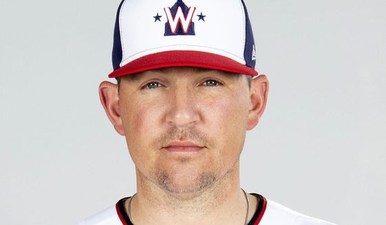 File-This is a 2021 photo of reliever Will Harris of the Washington Nationals baseball team. Harris has a blood clot in his right arm and is leaving spring training camp to be examined by a specialist, manager Dave Martinez said Friday, March 19, 2021. (Mary DeCicco/MLB Photos via AP) **FILE**