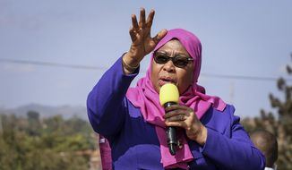 In this Tuesday, March 16, 2021, file photo, Tanzania's then-Vice President Samia Suluhu Hassan speaks during a tour of the Tanga region of Tanzania. Samia Suluhu Hassan has been sworn in Friday, March 19, 2021, as Tanzania's president, making history as the country's first woman in the position following the death of her predecessor John Magufuli. (AP Photo, File)