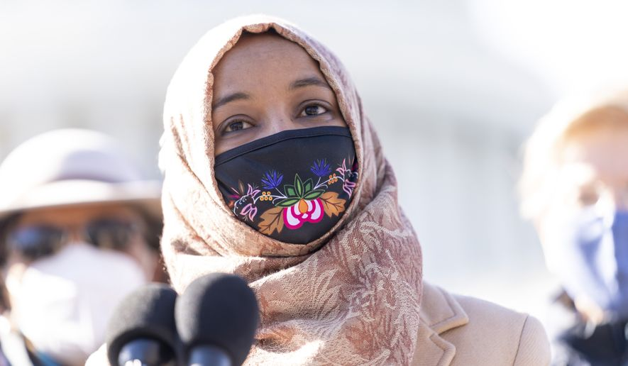 Rep. Ilhan Omar, D-Minn., speaks at a news conference on Capitol Hill in Washington, Feb. 4, 2021. AP Photo/Andrew Harnik)  ** FILE **