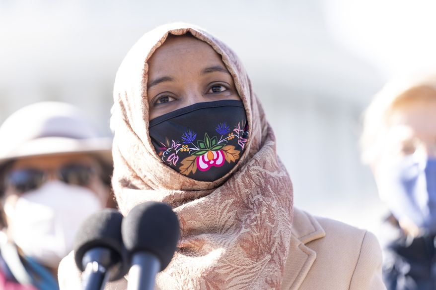 Rep. Ilhan Omar, D-Minn., speaks at a news conference on Capitol Hill in Washington, Feb. 4, 2021. (AP Photo/Andrew Harnik) **FILE**