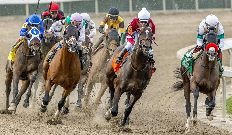 In this image provided by Hodges Photography, Hot Rod Charlie, right, with Joel Rosario aboard, leads the field into the stretch on his way to winning the 108th running of the $1,000,000 Grade II Louisiana Derby horse race at the Fair Grounds Race Course, Saturday, March 20, 2021, in New Orleans. (Jan Brubaker/Hodges Photography via AP)