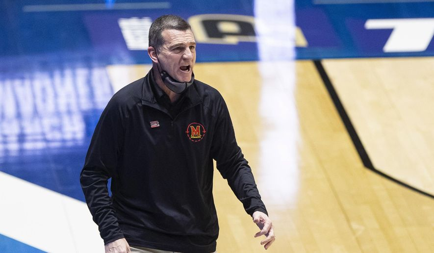 Maryland coach Mark Turgeon yells to players during the first half of a first-round game against Connecticut in the NCAA men's college basketball tournament Saturday, March 20, 2021, at Mackey Arena in West Lafayette, Ind. Maryland won 63-54. (AP Photo/Robert Franklin) **FILE**