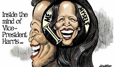Inside the mind of Vice President Harris ... (Illustration by Alexander Hunter for The Washington Times)