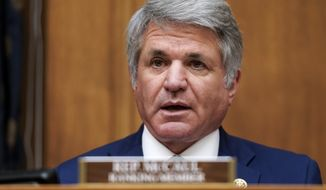 Rep. Michael McCaul, R-Texas, speaks during the House Committee on Foreign Affairs hearing on the administration's foreign policy priorities on Capitol Hill on Wednesday, March 10, 2021, in Washington. (Ken Cedeno/Pool via AP) **FILE**