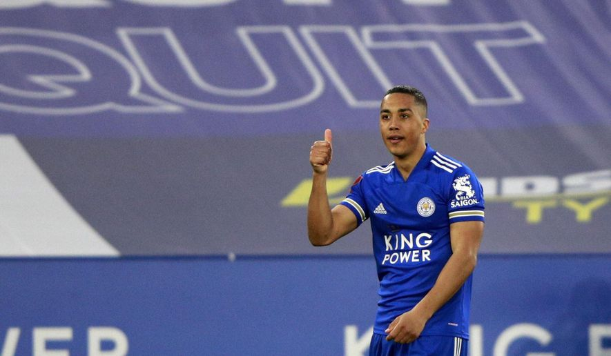 Leicester's Youri Tielemans celebrates after scoring his side's second goal during the English FA Cup quarter final soccer match between Leicester City and Manchester United at the King Power Stadium in Leicester, England, Sunday, March 21, 2021. (AP Photo/Ian Walton, Pool)