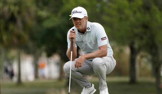 Matt Jones looks at his shot on the third hole during the final round of the Honda Classic golf tournament, Sunday, March 21, 2021, in Palm Beach Gardens, Fla. (AP Photo/Marta Lavandier) ** FILE **