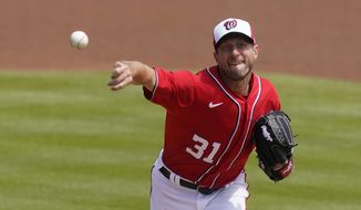 Washington Nationals' Max Scherzer (31) throws during the first inning of a spring training baseball game against the New York Mets, Sunday, March 21, 2021, in West Palm Beach, Fla. (AP Photo/Lynne Sladky)