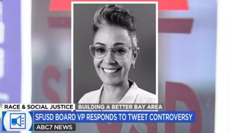 "San Francisco Unified School District Board vice president Alison Collins is facing calls to resign over tweets blasting Asian Americans that she said were ""taken out of context."" (Screengrab via ABC 7)"