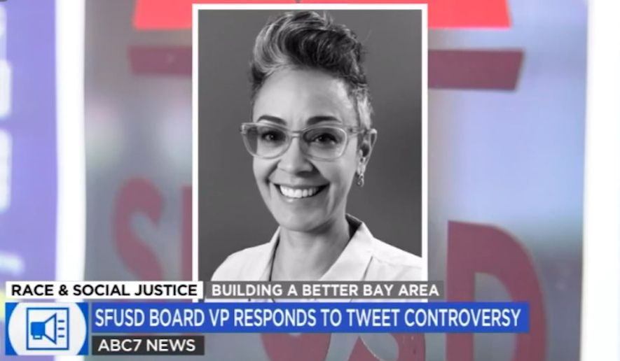 """San Francisco Unified School District Board vice president Alison Collins is facing calls to resign over tweets blasting Asian Americans that she said were """"taken out of context."""" (Screengrab via ABC 7)"""