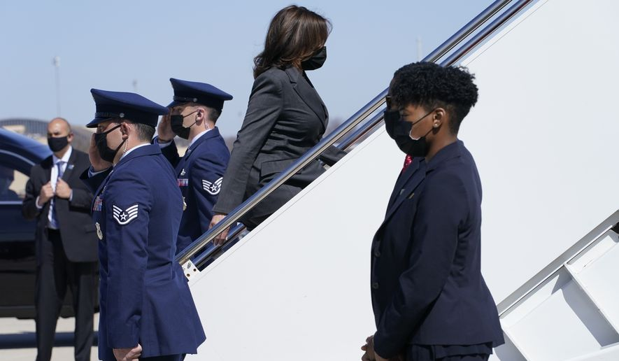 Vice President Kamala Harris boards Air Force Two at Andrews Air Force Base, Md., Monday, March 22, 2021. The Vice President is traveling to Jacksonville, Fla. (AP Photo/Jacquelyn Martin)