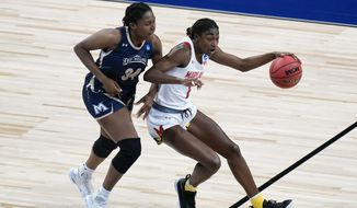 Maryland guard Diamond Miller (1) drives up court ahead of Mount St. Mary's center Rebecca Lee (34) during the first half of a college basketball game in the first round of the women's NCAA tournament at the Alamodome in San Antonio, Monday, March 22, 2021. (AP Photo/Eric Gay)