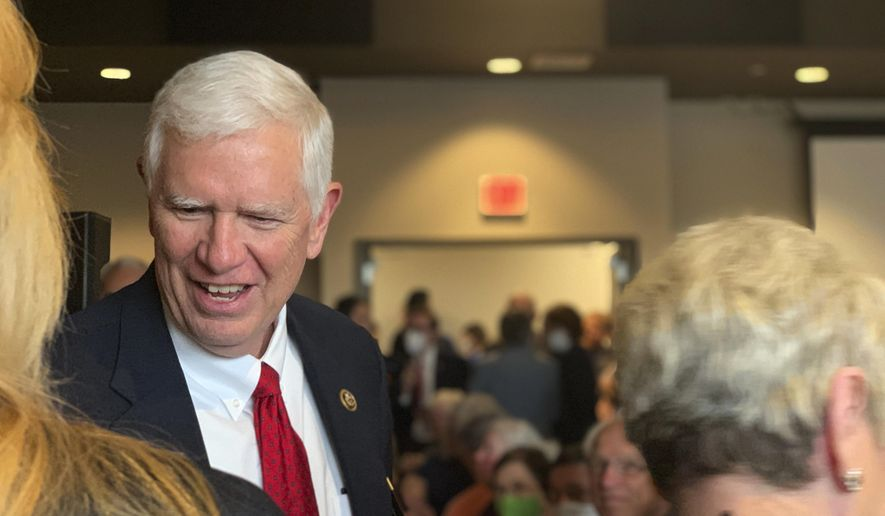 U.S. Rep. Mo Brooks greets supporters as he announces his campaign for U.S. Senate during a rally, Monday, March 22, 2021, in Huntsville, Ala. (AP Photo/Kim Chandler) **FILE**