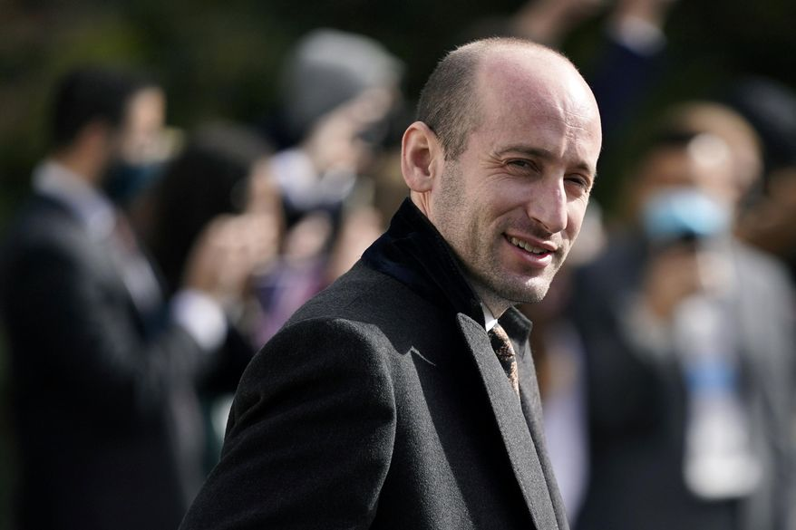 In this Oct. 30, 2020, file photo, President Donald Trump's White House Senior Adviser Stephen Miller follows President Donald Trump on the South Lawn of the White House in Washington. Alabama U.S. Rep. Mo Brooks, teasing the announcement of a possible run for U.S. Senate, has scheduled a campaign rally on Monday, March 22, 2021, where he will be joined by Miller.  (AP Photo/Patrick Semansky, File)