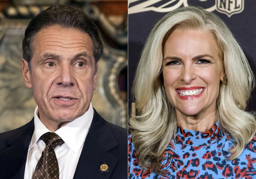 """New York Gov. Andrew M. Cuomo, Cuomo appears during a news conference about the COVID-19 vaccine at the State Capitol in Albany, N.Y., on Dec. 3, 2020, left, and Fox News' Janice Dean attends a screening of """"A Lifetime of Sundays"""" in New York on Sept. 18, 2019.  Dean has turned into one of New York Gov. Andrew Cuomo's fiercest critics after both of her in-laws died of the coronavirus last spring in elderly care facilities. (AP Photo)"""