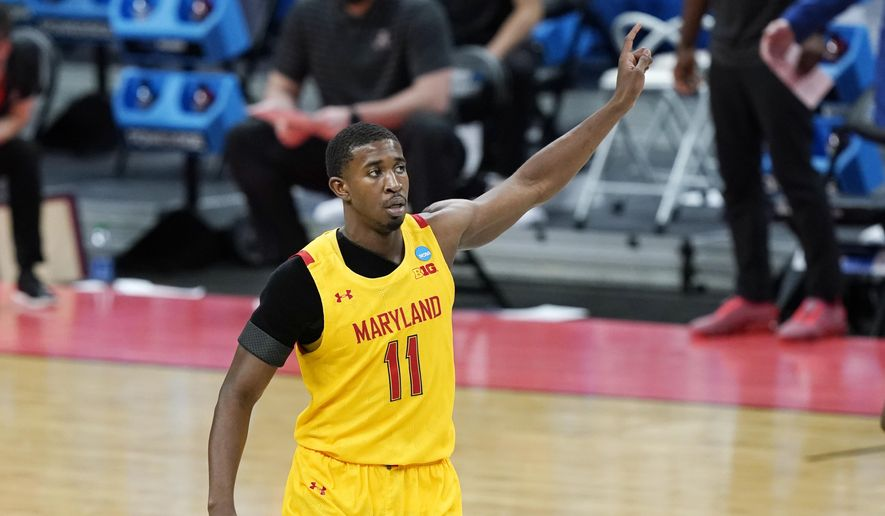 Maryland's Darryl Morsell (11) celebrates after scoring against Alabama during the first half of a college basketball game in the second round of the NCAA tournament at Bankers Life Fieldhouse in Indianapolis Monday, March 22, 2021. (AP Photo/Mark Humphrey) **FILE**