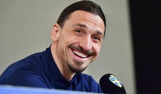 Zlatan Ibrahimovic attends a press conference at Friends Arena in Stockholm, Monday March 22, 2021. Ibrahimovic has come out of international retirement at the age of 39 and is set to play for Sweden for the first time since the European Championship in 2016. (Jonas Ekstromer/TT via AP)