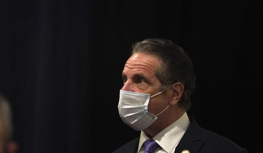 Gov. Andrew Cuomo arrives to Grace Baptist Church, a new pop-up vaccination site, in Mt. Vernon, N.Y., Monday, March 22, 2021. Cuomo was there to encourage all people to get vaccinated, especially those in underserved communities that were the most effected by the pandemic. (AP Photo/Seth Wenig, Pool)