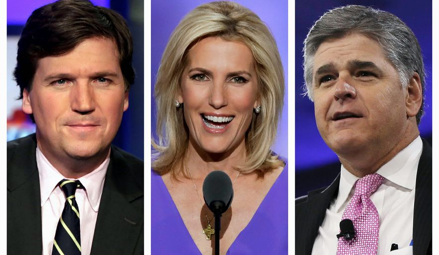 A new study from the Pew Research Center found that Fox News continues to win the battle for the conservative and the Republican audience. It far outpaces its rivals Newsmax and One America News. (Associated Press photographs)