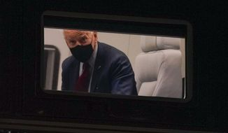 President Joe Biden looks out from his window on Marine One as it approaches the South Lawn of the White House in Washington, Tuesday, March 23, 2021. Biden is returning from Columbus, Ohio. (AP Photo/Patrick Semansky)